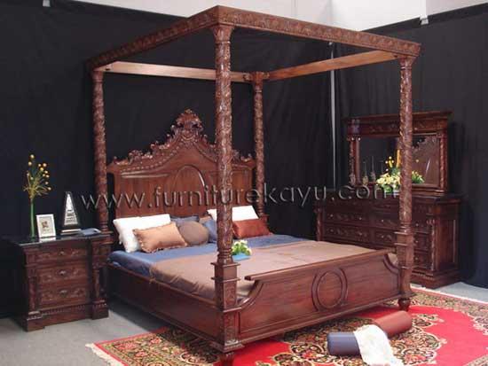 Kamar Set Tempat Tidur Kanopi Ukir FK 209