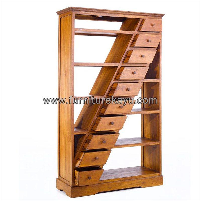 Furniture Kayu Jati Rak Buku Minimalis