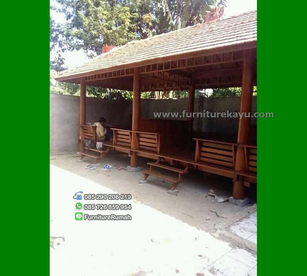 Jual Gazebo Rumah Makan Ukuran 9x4 Meter Kayu Kelapa FK-GZ 849