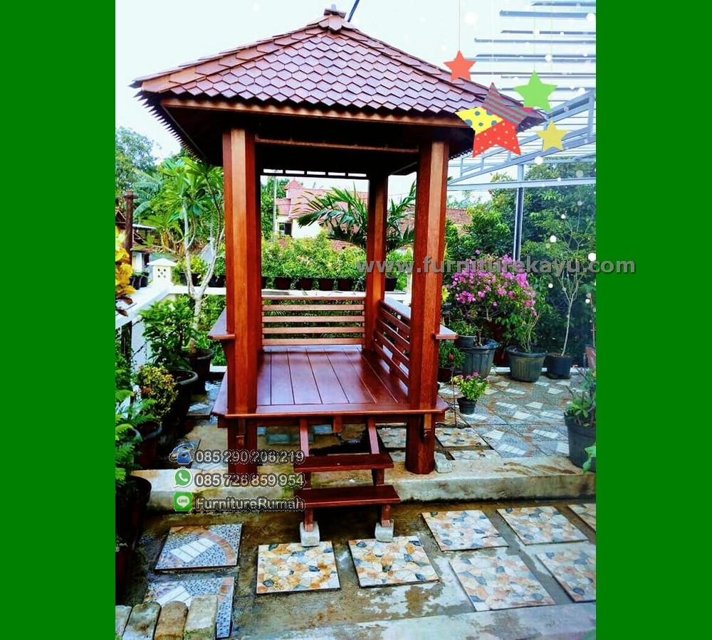 Model Minimalis Gazebo Taman Cantik Kayu Kelapa Soko Segi 8 FK-GZ 858