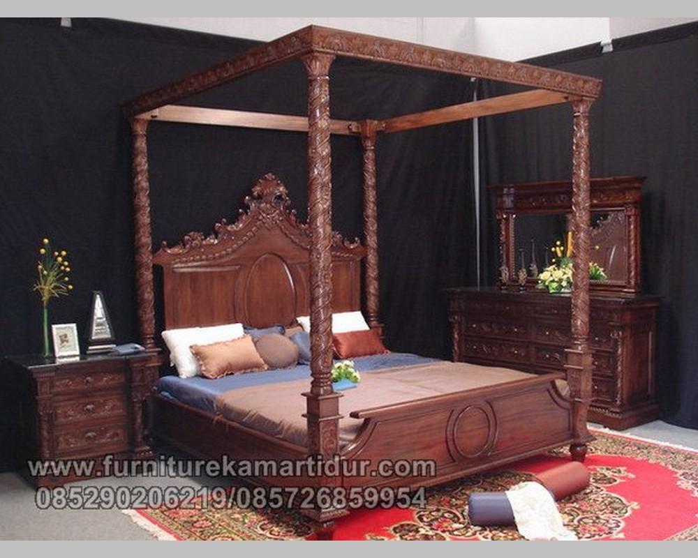 Desain Set Kamar Tidur Ukiran Mewah Model Kanopi Jati Jepara FK KS 127
