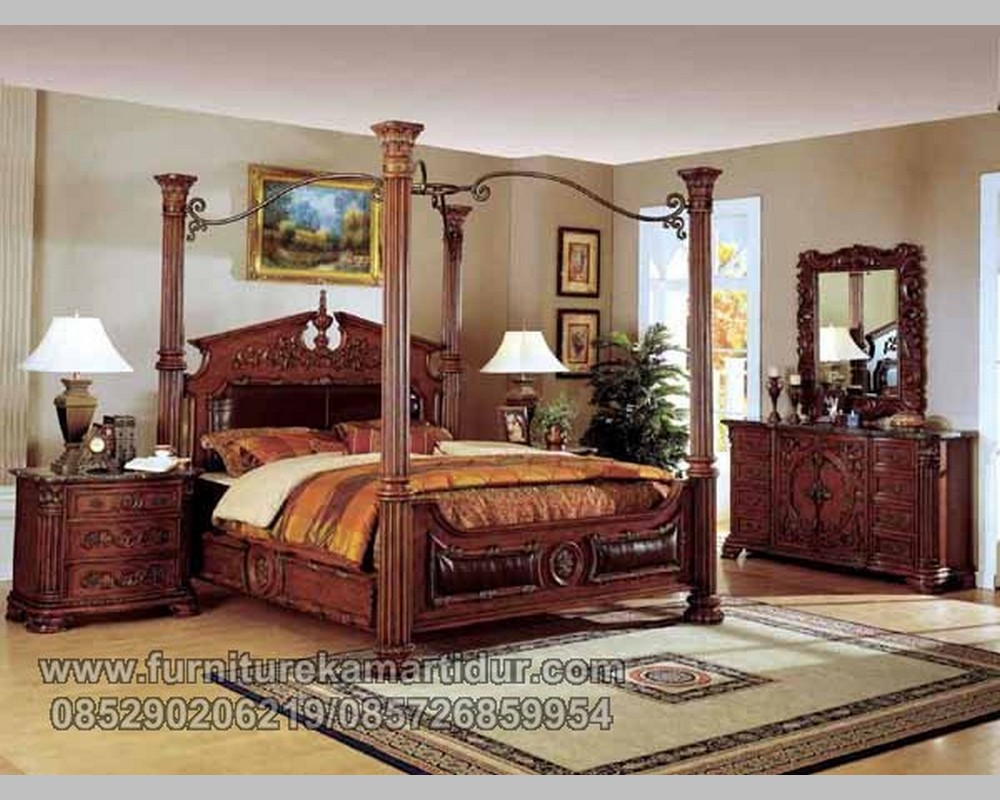 Furniture Antique Set Kamar Tidur Pilar Salur Jati Solid FK KS 143