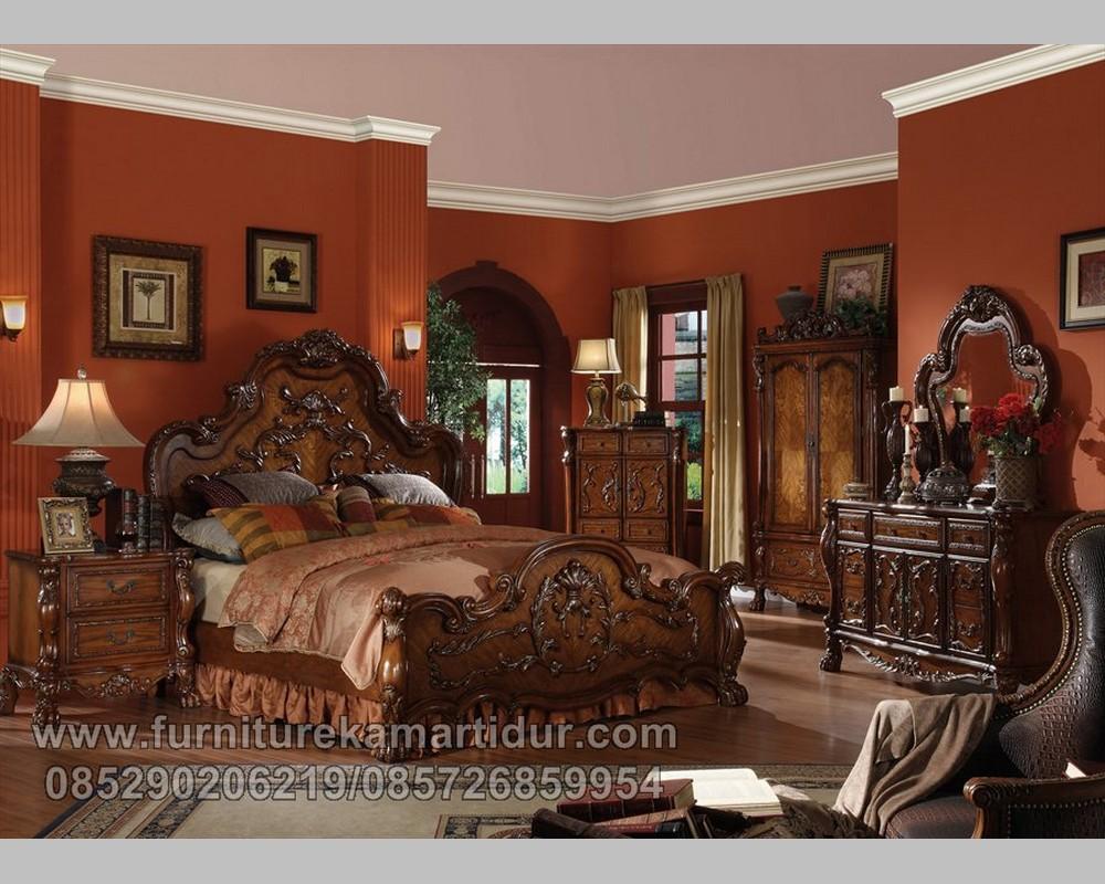 Furniture Kayu Jati Solid Kamar Set Mewah Ukiran Klasik Jepara FK KS 158