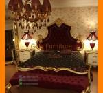 Furniture Kayu Set Tempat Tidur Mewah Gold dengan Jok MAroon FK KS 159