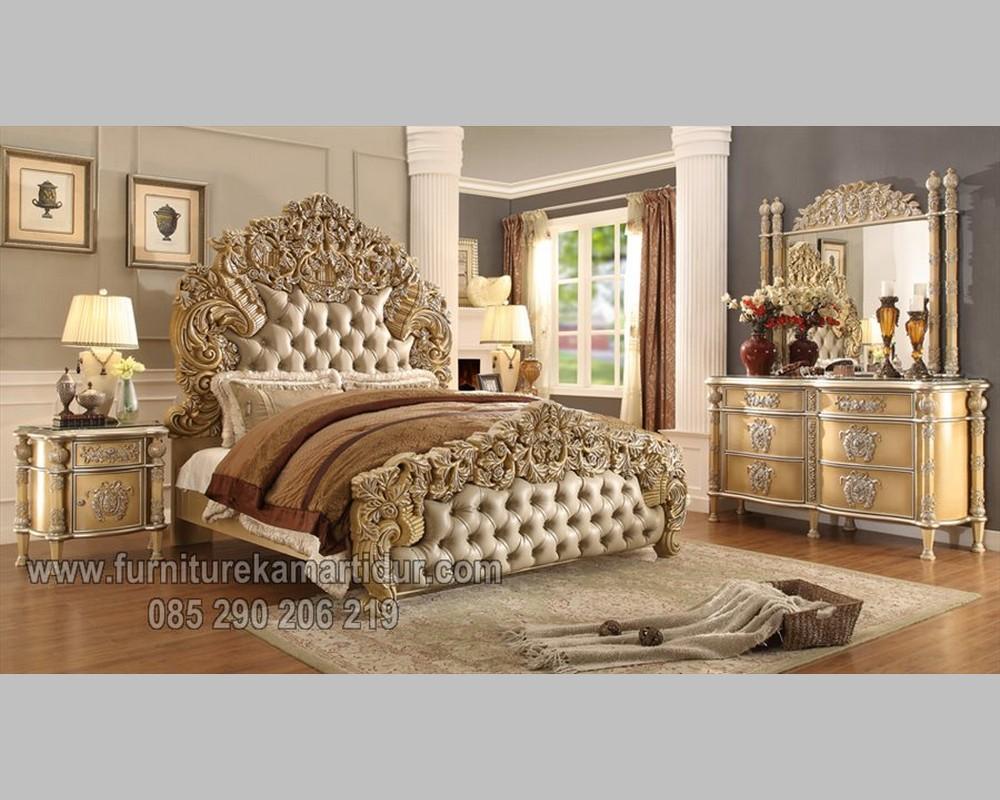 Furniture Klasik Jepara Set Tempat Tidur Duco Putih Ukiran Solid FK KS 161