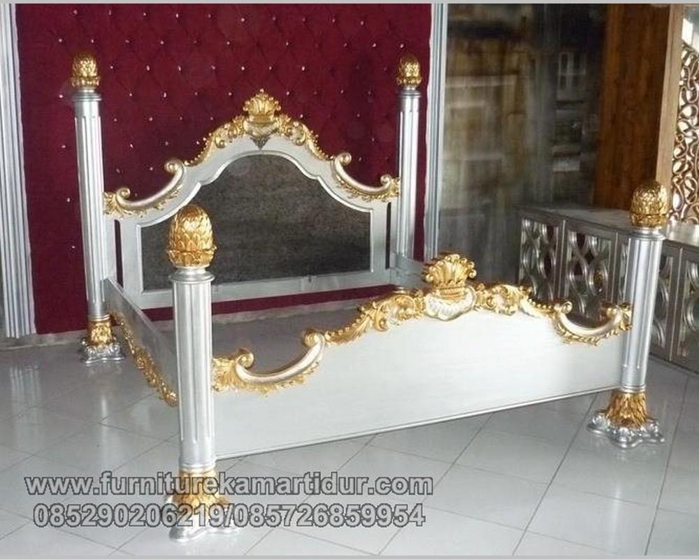 Harga Satu Set Tempat Tidur Ukiran Motif Tiang Nanas Gold FK KS 194