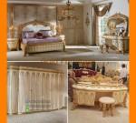 Pilihan Furniture Gold Kayu Solid Dengan Model Set Tempat Tidur Klasik FK KS 250