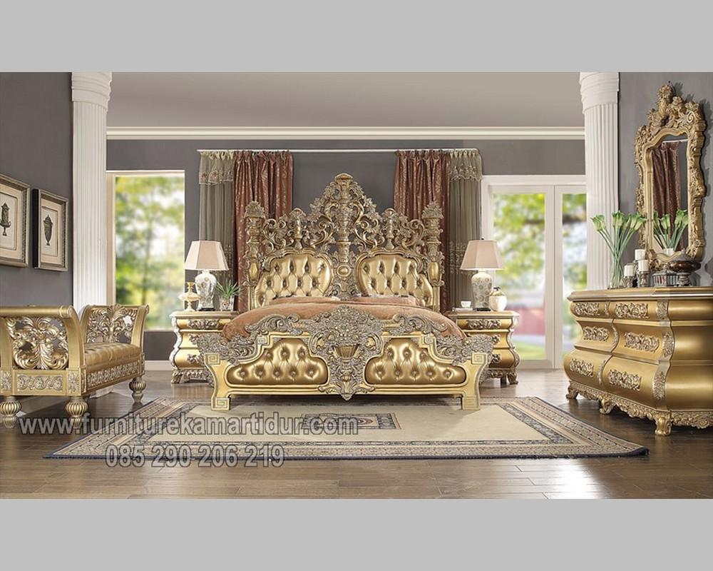 Pilihan Set Tempat Tidur Ukiran Mewah Duco Emas FK KS 252