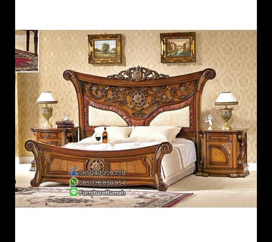 Set Kamar Tidur Mewah Jati dengan Ukiran Head Tinggi Solid Wood FK KS 272
