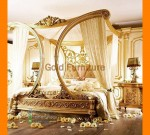 Set Tempat Tidur Pengantin Model Kanopi Mewah Gold Furnishing FK KS 287