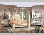 Furniture Mewah Set Tempat Tidur Kanopi Pilar Duco Putih Tulang Galileo FK KS 166Furniture Mewah Duco Putih Gold Furniture Jepara FK KS 164