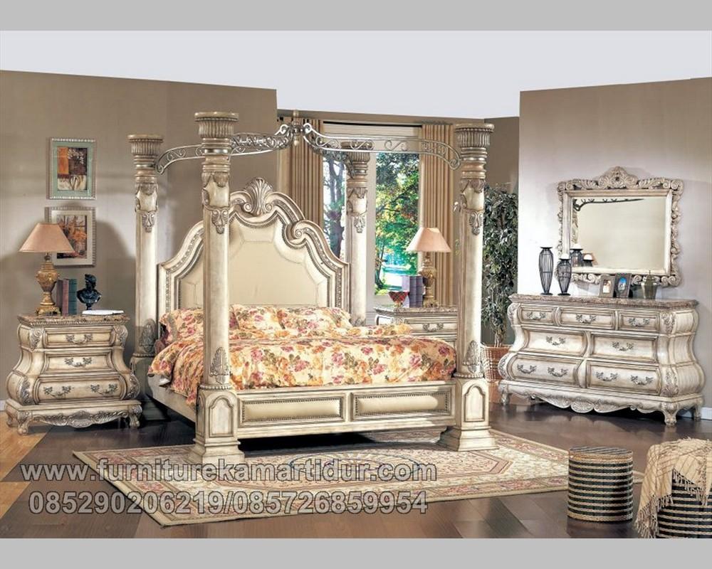 Furniture Mewah Set Tempat Tidur Kanopi Pilar Duco Putih Tulang Galileo FK KS 166
