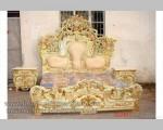 Real Picture Tempat Tidur Ukiran Itally Gold Kombinasi Duco Putih FK KS 257