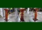 Desain Terbaru Podium Minimalis Stainless Lengkung Gold Kombinasi Kayu Jati Natural FK-PM 219