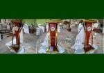 Harga Podium Mimbar Minimalis Stainless Jati Kombinasi Stainless Gold FK-PM 231