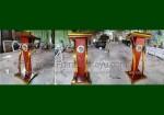 Jual Mimbar Kayu Jati Kombinasi Stainless Steel Logo Pelayaran FK-PM 239