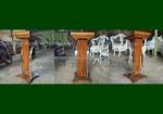 Jual Podium Minimalis Stainless Lengkung Kayu Jati Natural Furnishing FK-PM 249