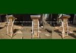 Mentahan Podium Minimalis Stainless Kayu Jati Solid Jepara Motif Krepyak FK-PM 257