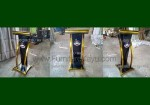 Podium Minimalis Stainless Gold Kombinasi Kayu Jati Black Glossy FK-PM 293